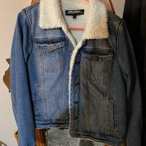 Fur lined jean jacket